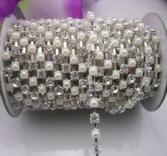Pearl & Crystal Glass Rhinestone Silver Chain by gardenofedenlife1, $8.75