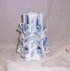 Carved blue and silver candle#carved candled