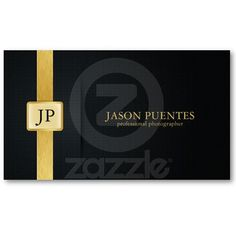 Elegant Black and Gold Professional Photographer Business Cards by eatlovepray