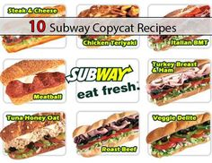 Subway Menu with prices. View the full Subway Sandwich menu, incl Salads, cookies and the Subway Breakfast menu with prices Subway Bread, Subway Copycat Recipe, Copykat Recipes, Fast Food Chains, Wrap Recipes, Restaurant Recipes, Love Food, Kitchen, Hamburgers