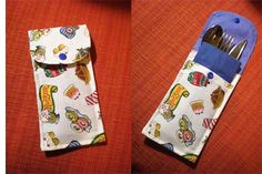 Estuche para cubiertos, pochette à couverts, porta talheres Easy Sewing Projects, Diy Projects To Try, Diy Cutlery Pouches, Sewing Caddy, Christmas Placemats, Diy Case, Produce Bags, Crochet Kitchen, Craft Show Ideas