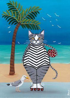 Rollerskating at the Beach - Original Cat Folk Art Painting - Illustrationcats - Katzen / Cat Frida Art, Cat Art Print, Cat Crafts, Cat Drawing, Art Pages, Crazy Cats, Rock Art, Holland, Illustration Art