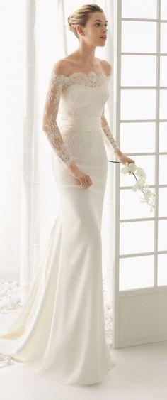 Lace beading chapel train wedding dress