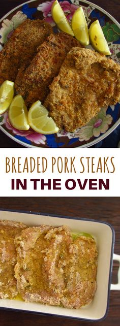 Want to prepare a simple meal in the oven? These breaded pork steaks flavored with thyme and oregano are a great option for your dinner! It's an easy recipe to prepare and quite tasty! Pork Cube Steaks, Fried Pork Steak, Breaded Steak, Pork Chops, Steak In Oven, Fries In The Oven, Pork Steak Recipe Oven, Baked Pork Steaks Oven, Cube Steak Recipes