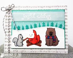 """Lawn Fawn - Love You S'more, , Snow Day, Joy to the Woods, Large Stitched Rectangle Stackables, Stitched Hillside Borders, Forest Border, Snow Day 6x6 paper, Sweater Weather 6x6 paper, Hello Sunshine 6x6 paper, Cloudy Lawn Trimmings _ """"Joyful Wishes"""" adorable card by Yukari via Flickr - Photo Sharing!"""