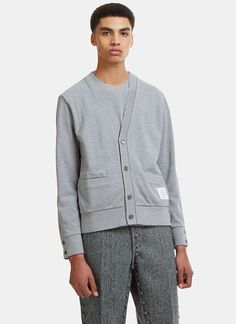 THOM BROWNE Reconstructed V-Neck Cardigan in Black