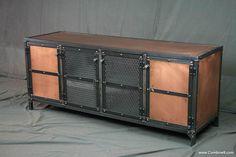 Industrial Copper Media Console - Vintage Industrial Entertainment Center - Industrial Sideboard - Modern Loft Furniture - Urban Loft Style