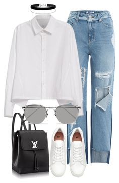 """""""Untitled #2412"""" by annielizjung ❤ liked on Polyvore featuring SJYP, Y's by Yohji Yamamoto, Miss Selfridge and Linda Farrow"""
