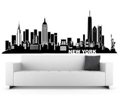 New York Wall Decal (City Skyline Theme Black Vinyl Wall Sticker, Home Decor Design)