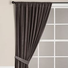 Velvet Curtain Panel, Charcoal