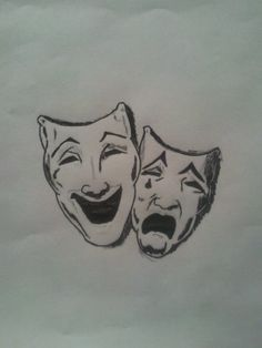 Comedy And Tragedy Face Tattoo Comedy/tragedy mask drawing