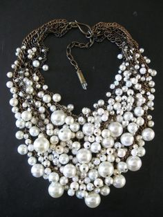 Pearl Bib Necklace - Mermaid Farts - Creamy White and Brass Recycled Faux Pearls Statement Necklace via Etsy