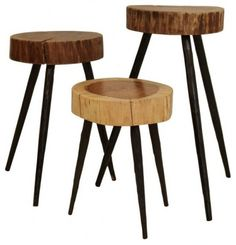 These wood-slab tripod stools are the perfect blend of natural elements and iconic modern design.