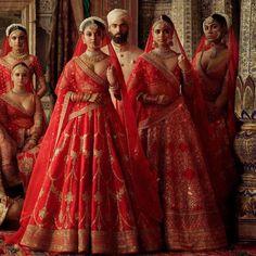2019 Sabyasachi Charbagh Bridal Lehenga collection has a bunch of traditional red wedding lehengas, some gorgeous destination wedding outfits + lots more. Red Lehenga, Party Wear Lehenga, Bridal Lehenga Choli, Anarkali, Lehenga Blouse, Indian Lehenga, Bollywood Mode, Bollywood Saree, Bollywood Fashion