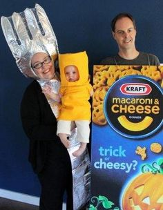 MOST LIKELY TO GET EATEN HALLOWEEN NIGHT BY STONED TRICK OR TREATERS: Ian, Monique, and baby Mina managed to adapt dad's hobby of collecting Mac and Cheese boxes into a group theme costume. Definitely the tastiest-looking family in contest history.