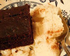 Chocolate-Buttermilk Squares cake, with Muhalabiya Ice Cream sprinkled with cinnamon.