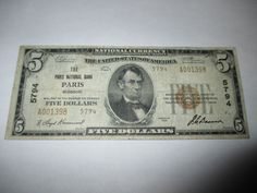 $5 1929 PARIS MISSOURI MO NATIONAL CURRENCY BANK NOTE BILL CH. #5794 FINE