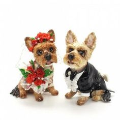 Weddbook is a content discovery engine mostly specialized on wedding concept. You can collect images, videos or articles you discovered  organize them, add your own ideas to your collections and share with other people | Yorkshire Terrier Wedding Cake Toppers Bridal Yorkshire Terrier with red flower and white veil embellish with crystal and glitter and she holding red flower bouquet. Yorkshire Terrier Groom wearing black tuxedo, white shirt and black bow tie. I also add glitter that I using…