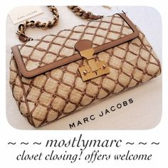 """Host Pick 4/11 SALE Marc Jacobs Baroque Faye This is such an unique bag. The quilted raffia is accented by tan leather, and the gold hammered hardware and leather entwined chain add an elegant touch. The push-lock closure has an optional lock, and the satin lined interior has one interior zip pocket. Approx. 13""""W x 7.5""""H x 2""""D with a 8.5"""" strap drop. New with tags, cards, and dust bag. 4/11 Wardrobe Refresh HP by @allienotacat  ✅ OFFERS  SHIPS FAST    CLOSET TEMPORARILY CLOSING BY MAY - MAKE…"""