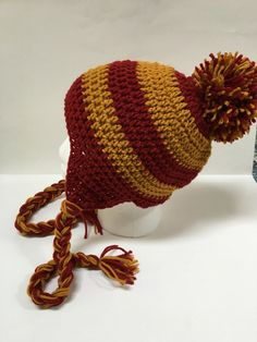 Hand crocheted Harry Potter inspired adult winter hat with ear flaps 8e9dd6cd747