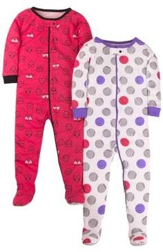 12 Months Novel Gerber Baby Girls Organic 2 Pack Cotton Footed Unionsuit In Star Design;