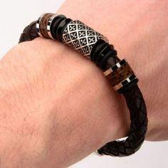 THE SAINT BRACELET Steel Fleur De Lis Bead Brown Leather Bracelet - TRIBAL…