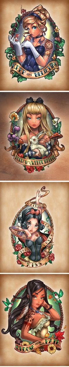 Disney Princesses As Vintage Pin-Up Tattoos