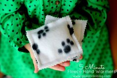 5 minute Fleece Hand Warmers. A great gift for kids to make too!