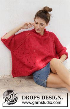 Ravelry: Strawberry Swing pattern by DROPS design Drops Design, Knitting Gauge, Knitting Yarn, Free Knitting, Poncho Pullover, Knitted Poncho, Strawberry Swing, Pull Poncho, Knit Picks