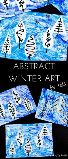 Arty Crafty Kids | Art | Winter Crafts for Kids | Abstract Winter Art for Kids - A fun painting idea using multiple mediums to create a textured Winter scene