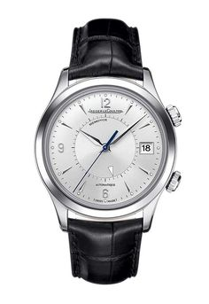 The #jaegerlecoultre Master Memovox is 40 mm in diameter, available in steel or rose gold; it's silvered dial is the picture of understated elegance with center-mounted hour, minute, and second hands. #watchtime #luxurywatch