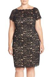 Adrianna Papell Off the Shoulder Lace Sheath Dress (Plus Size)