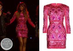 The X Factor: Season 3 Kelly Rowland's Ebellished Fuchsia Dress