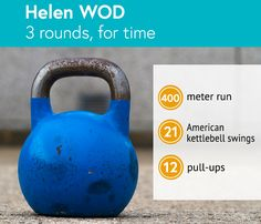 Helen WOD: 3 rounds, for time: 400 meter run, 21 American kettlebell swings, 12 pull-ups Crossfit Workouts For Beginners, Pilates For Beginners, Beginner Pilates, Crossfit Wods, Kettlebell Training, Kettlebell Swings, Pilates Video, Exercises