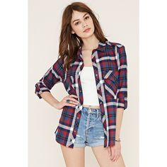 Forever 21 Women's  Tartan Plaid Shirt ($20) ❤ liked on Polyvore featuring tops, tartan shirt, forever 21 tops, plaid top, long sleeve cotton shirt and forever 21 shirts