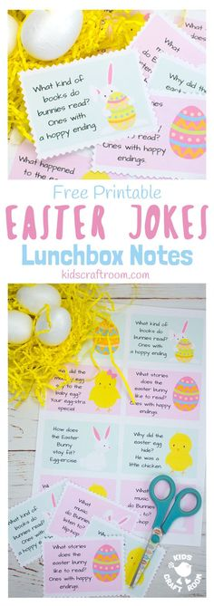 EASTER JOKES LUNCHBOX NOTES - Add some fun surprises to the Easter countdown with free printable Easter Joke Lunchbox Notes. With jolly pictures and family friendly jokes these are great for popping into lunchboxes, pockets and backpacks! #easter #jokes #lunchboxnotes #easterlunchboxnotes #easterjokes #backtoschool #printables #kidsactivities #freeprintables #lunch #kidslunchideas #kidscraftroom #easteractivities via @KidsCraftRoom
