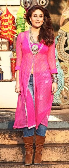 Check out the Kareena Kapoor Khan's look in forthcoming film 'Gabbar is Back'. What's more, how ravishing does she look! Wearing indo-western clothing, Kareena includes oomph with her immaculate style. This look is for a melody song 'Teri Meri Kahaani' from the film. Kareena sports a pink coat in chiffon over pants and she finishes ...