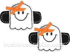 Felt Ghost Clippies 2pk - Bloomery Designs  #bestdressedkids.com #halloween