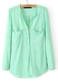Green Plain Pockets Long Sleeve Cotton Blend Blouse