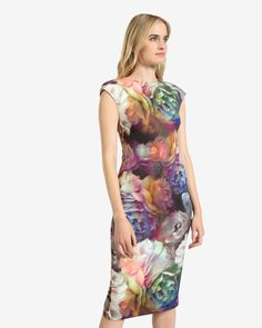 Technicolour Bloom midi dress - Black   Dresses   Ted Baker