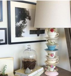 Stack teacups to create an unique lamp. Get an electrician to make it safe.