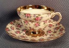 VINTAGE-PORCELAIN-TEA-CUP-SAUCER-SET-ROSINA-CABBAGE-ROSE-CHINTZ-14K-GOLD