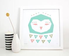 Owl Print Screenprint Geometric Abstract Modern by sassandperil, $22.00