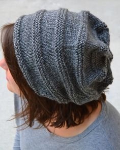 Knit Slouch Beanie CANYON Hand Knit in CHARCOAL by Gone2Pieces
