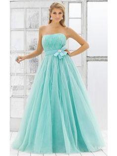 Attractive Blue Ball Gown Floor-length Strapless Dress