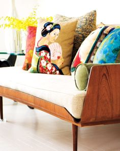Lovely cushions....Bright Apartment Design With Pop Art Details | DigsDigs