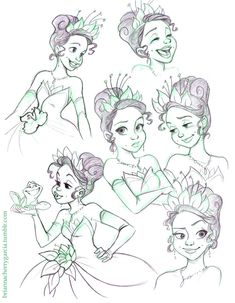 Tiana Sketches by briannacherrygarcia on DeviantArt Cartoon Sketches, Disney Sketches, Disney Drawings, Drawing Sketches, Art Drawings, Estilo Disney, Arte Disney, Disney Pixar, Disney Concept Art