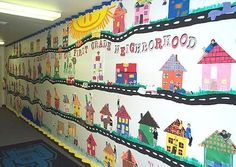 First Grade Neighborhood. First graders made houses with a construction paper collage. The pictures of the children were taken using panoramic film. Art Lessons For Kids, Art Lessons Elementary, Elementary Schools, Art For Kids, Kindergarten Social Studies, Teaching Social Studies, In Kindergarten, Social Studies Communities, Communities Unit