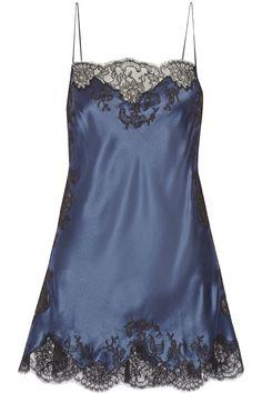 Carine Gilson | Lace-trimmed silk-satin chemise | NET-A-PORTER.COM