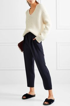 See by Chloé - Tapered Crepe Pants - Navy - FR34